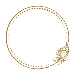 Vector round dotted frame frame with peacock feather decoration