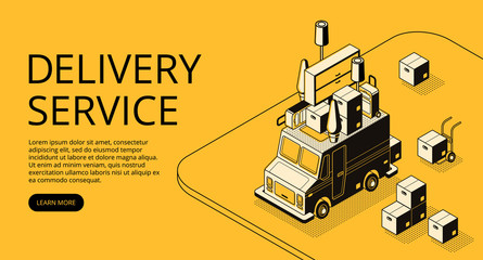 Delivery service vector illustration of loader truck with furniture for moving or store order shipping. Logistics transport thin line art and isometric black halftone design on yellow background