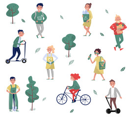 Eco friendly people set, man and woman protecting the environment, using alternative transport, collecting waste vector Illustrations on a white background