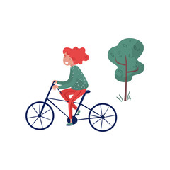 Smiliing girl riding bicycle, eco friendly alternative transportation vehicle vector Illustration on a white background