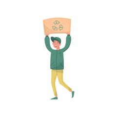 Man holding sign board with recycling sign over his head, eco friendly people protesting, protection and preservation of the environment vector Illustration