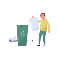 Man collecting rubbish for recycling, eco friendly people concept, protection and preservation of the environment vector Illustration on a white background