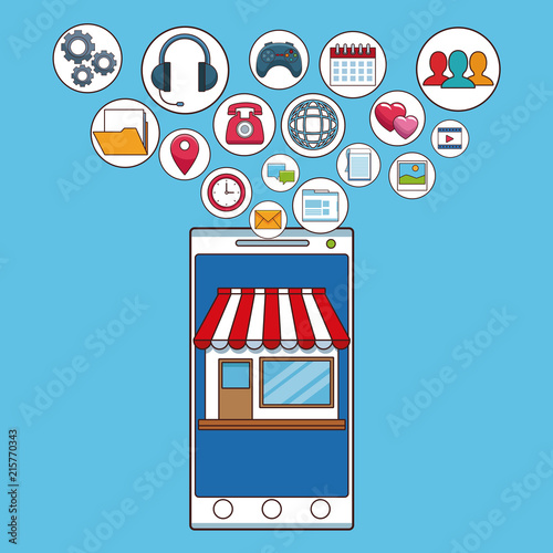 Online Store From Smartphone With Social Network Symbols Vector