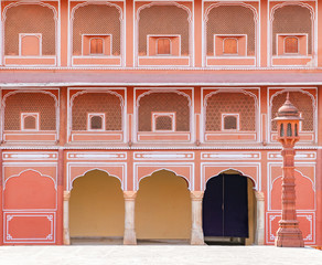 Jaipur city palace in Jaipur city, Rajasthan, India. An UNESCO world heritage know as beautiful pink color architectural elements. A famous destination in India.