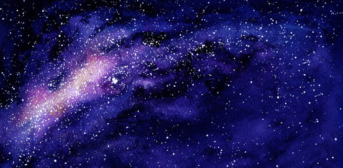 Watercolor Outer Space and Milky Way