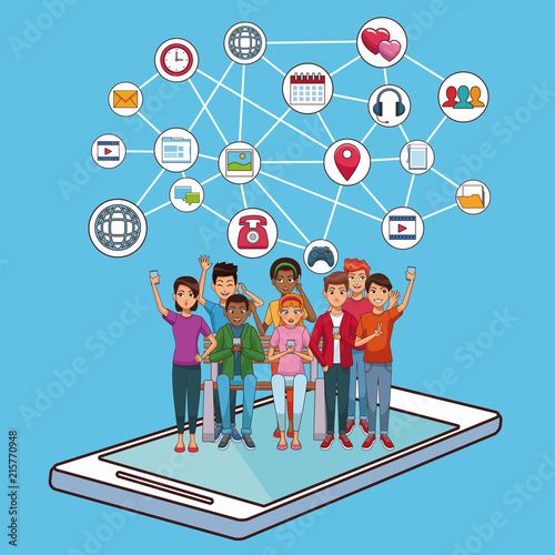 Teenagers On Smartphone Screen With Social Network Symbols Vector