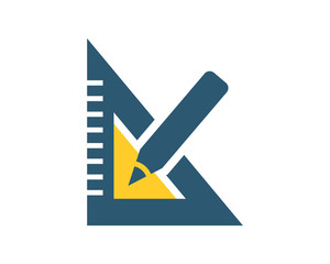 triangle ruler stationery tool equipment image vector icon logo