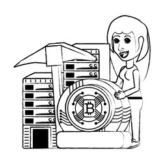 cryptocurrency mining design with woman with dataservers and cryptocoins over background, vector illustration