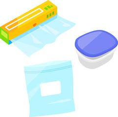 食品保存用のラップ、袋、タッパーウェア