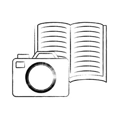 photographic camera and book icon over white background, vector illustration