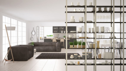 Kitchen living room shelving system foreground close-up, interior design concept, white and gray modern room open plan in the background