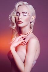 colorful portrait of beautiful blond woman