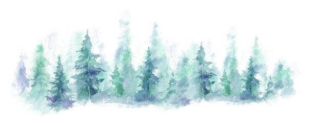 Foto op Aluminium Wit Blue landscape of foggy forest, winter hill. Wild nature, frozen, misty, taiga. watercolor background