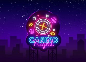 Casino Night Neon Logo Vector. Casino neon sign, design template, modern trend design, casino neon signboard, night bright advertising, light banner, light art. Vector illustration. Billboard