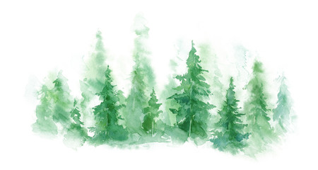 Spoed Fotobehang Aquarel Natuur Green landscape of foggy forest, winter hill. Wild nature, frozen, misty, taiga. watercolor background