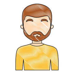 avatar man with beard over white background, vector illustration