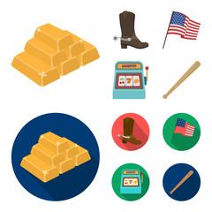 Cowboy boots, national flag, slot machine, baseball bat. USA country set collection icons in cartoon,flat style vector symbol stock illustration web.