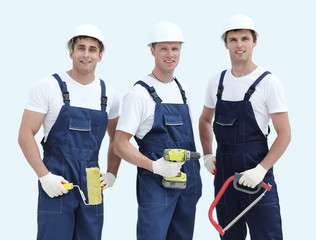 Group of professional industrial workers. Isolated over white