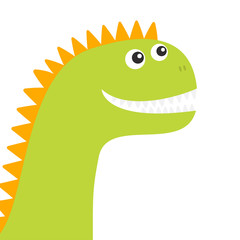 Dinosaur face. Cute cartoon funny dino baby character. Flat design. Green and orange color. White background. Isolated