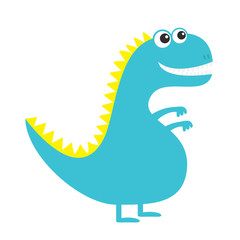 Dinosaur isolated on white background. Cute cartoon funny dino baby character. Flat design. Blue and yellow color.