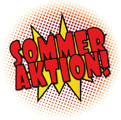 Sommer Aktion rote Comic Cartoon Explosion web Banner Text Illustration