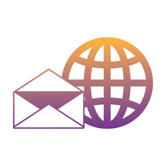 envelope and global sphere icon over white background, vector illustration