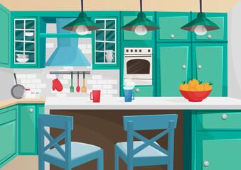 Vector Cartoon volumetric illustration of cozy vintage retro kitchen interior.