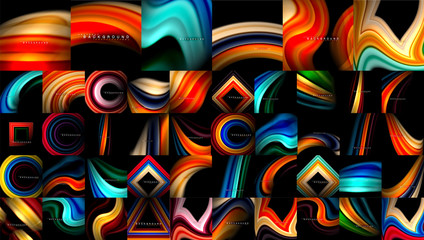 Mega collection of liquid abstract backgrounds, fluid mixing flowing smooth colors on black. Modern colorful universal templates