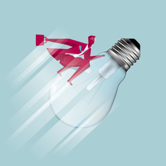 Businessman riding a light bulb in mid-air. The background is blue.