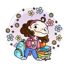 Cute school kid ready to education.