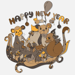 Animals and New Year's gifts.The vector illustration,doodle