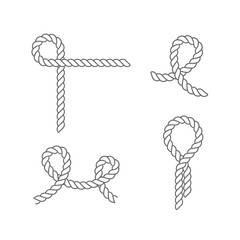Set of sea knots and loops. Cable rope, tied, untied.