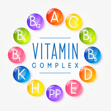 Set of main vitamin icons for Your design
