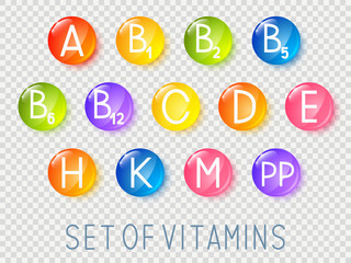 Set of main vitamins icons with transparent effect