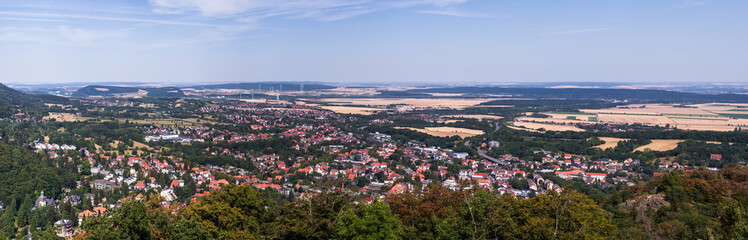 Overview of the health resort Bad Harzburg at the edge of the Harz mountains, high resolution panorama of composite photos