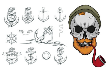 Hand Drawn sailor. Cartoon bearded man character. Sailor character head. Anchor Tattoo patch. Sea set. Vector artwork