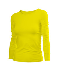 Slim female shirt in yellow with long sleeves isolated on white background (model 4)