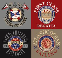 East coast Sailing Yacht club vintage vector badges for t shirt