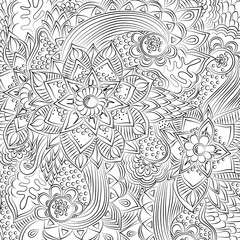 Abstract floral pattern. Hand-drawn, doodle