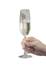 Man hand holding champagne glass ready to drink isolated over white background - people in party happy celebration concept. Photo includes clipping path.