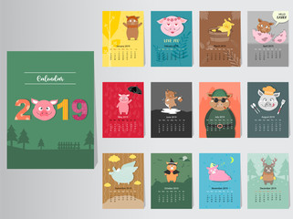 Funny animal calendar 2019 design,The year of the pig monthly cards templates,Set of 12 month,Monthly kids,Vector illustrations