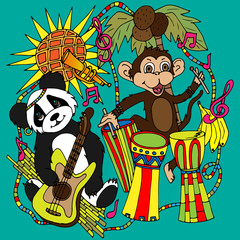 Panda with a guitar and a monkey with African drums, a sketch drawn by hand
