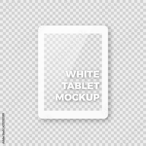 realistic white tablet vector mockup shiny clean white pad ebook