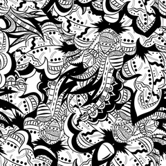 Oak leaves, acorns. Seamless pattern, abstract, doodle, black and white, hand-drawn