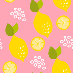 Fruit pattern with lemons and lemon slices on pink background. Ornament for textile and wrapping. Vector.