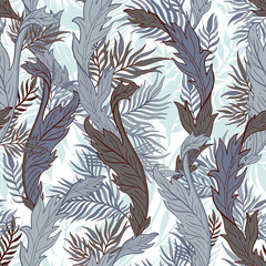 Abstract nature seamless pattern hand drawn. Ethnic ornament, floral print, textile fabric, botanical element. Vintage retro style. Image of flowers of leaves and other natural objects.