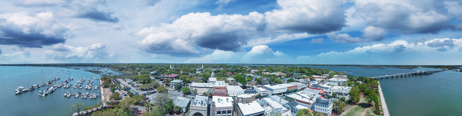 Aerial sunset view of Beaufort, South Carolina. Panoramic picture from drone perspective Wall mural
