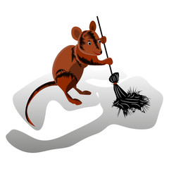 Brown mouse sweeps a broom, cleaning territory, character on a white background,