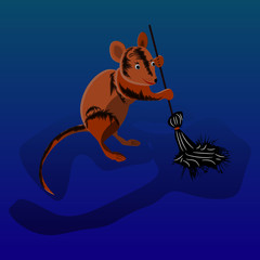 Mouse sweeps broom, cleaning territory, character on a blue background