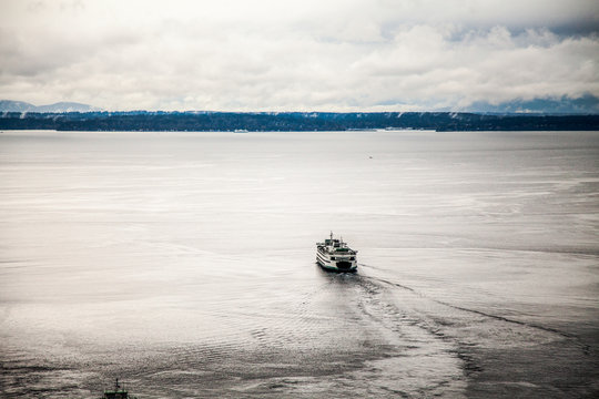 Seattle ferry on puget sound, view from Smith tower